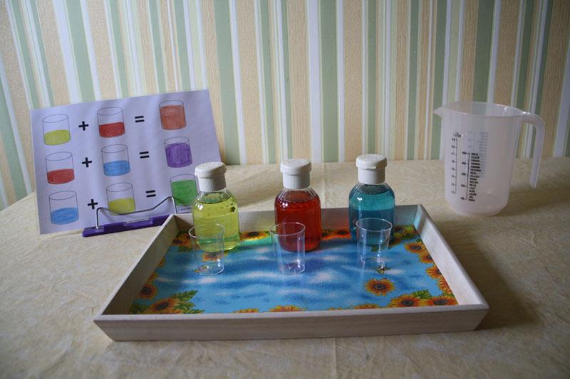Farben mischen in kleiner Dosierung…  Montessori selbst